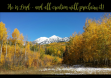 FREE Bible Poster; He is Lord and all creation will proclaim it; autumn/fall mountain scene with a light dusting of snow; free printable