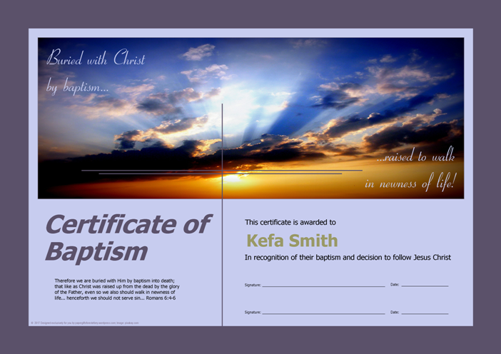 Certificate of Baptism; free printable