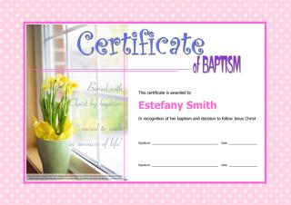 Certificate of Baptism; free printable