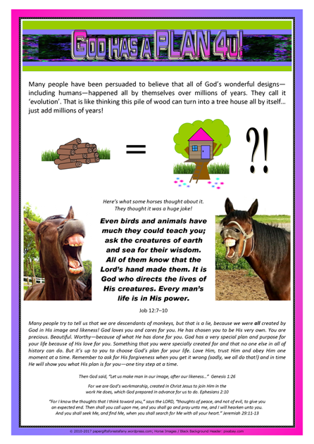 God Has a Plan 4U Article for kids; free printable