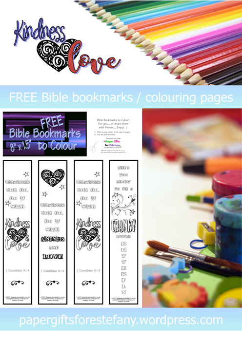 Scripture Doodle Bible bookmarks and colouring pages with room to add your own notes or doodles; 1 Corinthians 16:14; Whatever you do, do it with kindness and love; free printable