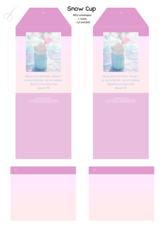 FREE pink mini envelopes and note cards with Bible verse from Ephesians 3:19; perfect to make you feel warm and cosy on a snowy day, this delicious cup of hot chocolate or coffee is wrapped in a soft aqua woollen jumper and set among the sparkling snow, filled with whipped cream and embellished with a pink heart; free printable