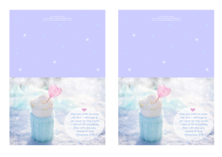 FREE mauve note cards with Bible verse from Ephesians 3:19; perfect to make you feel warm and cosy on a snowy day, this delicious cup of hot chocolate or coffee is wrapped in a soft aqua woollen jumper and set among the sparkling snow, filled with whipped cream and embellished with a pink heart; free printable