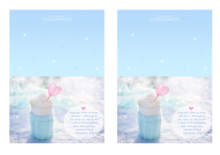 FREE blue note cards with Bible verse from Ephesians 3:19; perfect to make you feel warm and cosy on a snowy day, this delicious cup of hot chocolate or coffee is wrapped in a soft aqua woollen jumper and set among the sparkling snow, filled with whipped cream and embellished with a pink heart; free printable