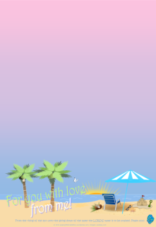 FREE Summer Stationery with Bible verse from Psalm 113:3; tropical palm trees, beach at sunset, deck chair, coconut, sand castle, blue flip flops, sunglasses, blue and white beach umbrella; free printable