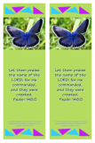 FREE Bible bookmark with Bible verse from Psalm 148:5; blue butterfly on lime green background; free printable