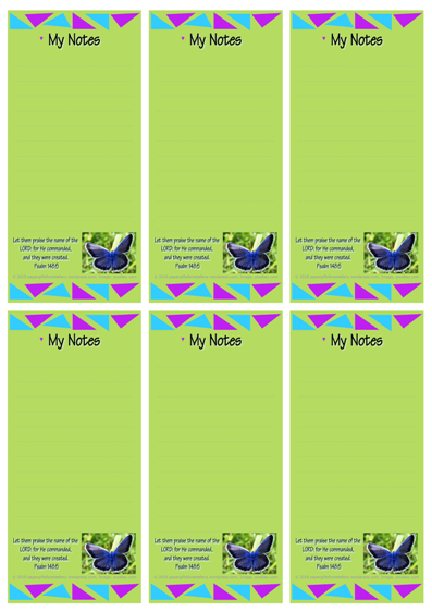 FREE To-Do List with Bible verse from Psalm 148:5; blue butterfly on lime green background; free printable