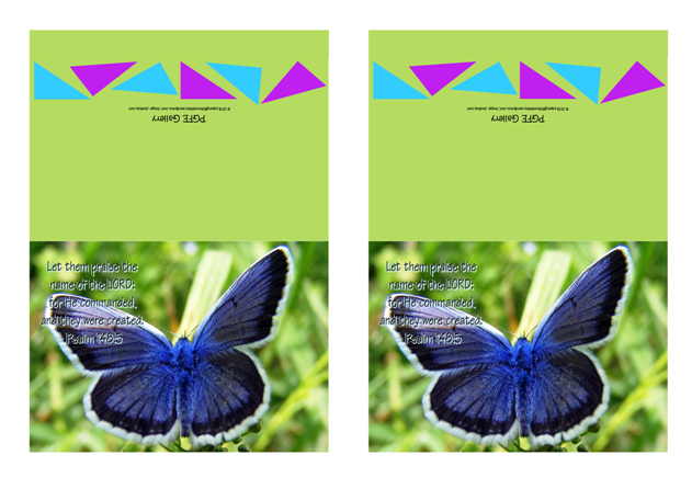 FREE Bible note cards with Bible verse from Psalm 148:5; blue butterfly on lime green background; free printable