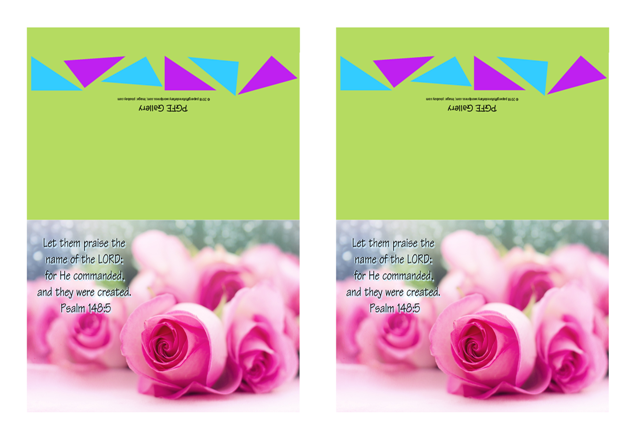 FREE Bible note cards with Bible verse from Psalm 148:5; pink roses on lime green background; free printable