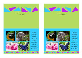 FREE Bible note cards with Bible verse from Psalm 148:5; collage of photos (macaw, koala, pink roses, blue butterfly) on lime green, blue and purple background; free printable