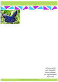 FREE stationery with Bible verse from Psalm 148:5; blue butterfly on white background with lime green, blue and purple border; free printable