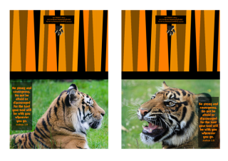 FREE Bible note cards with tiger photos and Bible verse from Joshua 1:9 on striped orange/black background; free printable