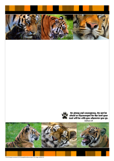 FREE stationery with tiger photos and Bible verse from Joshua 1:9 on white background with striped orange/black border; free printable