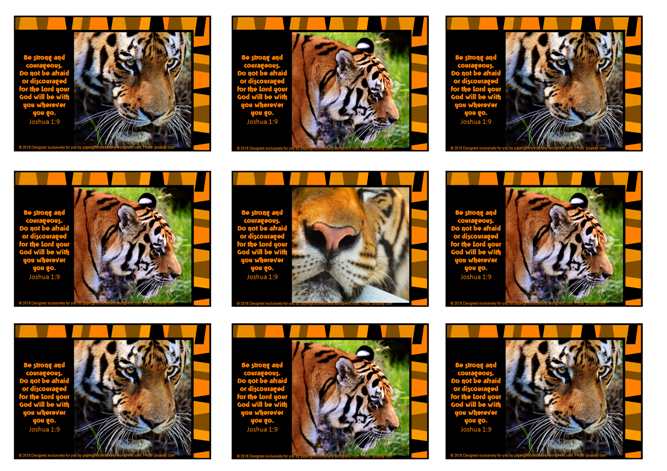 FREE Bible wallet cards with tiger photos and Bible verse from Joshua 1:9 on striped orange/black background; free printable
