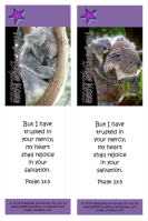 FREE Koala bookmark on purple background with Bible verse from Psalm 13:5; free printable