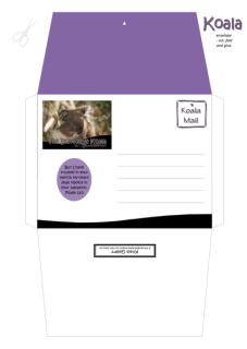 FREE Koala envelope on purple, black and white background with Bible verse from Psalm 13:5; free printable