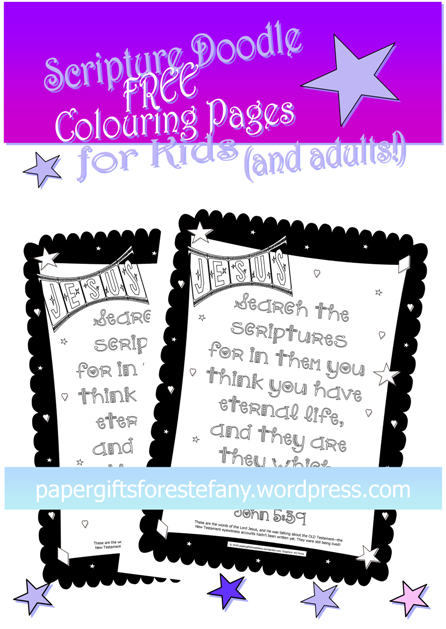 FREE Scripture Doodle Bible verse colouring page; John 5:39; free printable