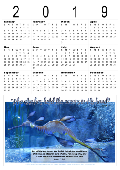 FREE 2019 Calendar with Bible verse for kids; featuring weedy seadragon; free printable