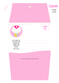 FREE pink and white envelope with cupcake, sprinkles, a tiny gold star and pink hearts; Bible verse from Psalm 119:103; free printable