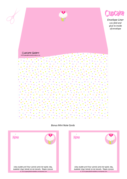 FREE pink and white envelope liner with cupcake, sprinkles, a tiny gold star and pink hearts; Bible verse from Psalm 119:103; free printable