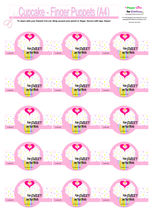 FREE pink and white finger puppets with cupcake, sprinkles, a tiny gold star and pink hearts; Bible verse from Psalm 119:103; free printable