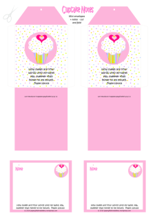 FREE mini envelopes and mini note cards with pink and white cupcake, sprinkles, a tiny gold star and pink hearts; Bible verse from Psalm 119:103; free printable