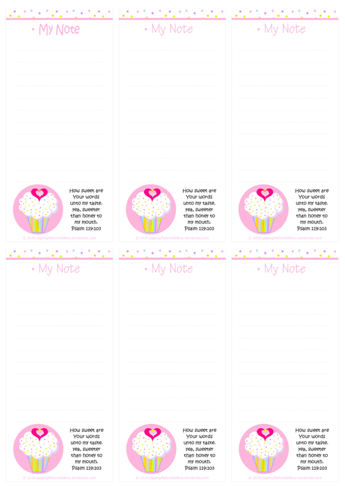 FREE mini to do list featuring pink and white cupcake with sprinkles, a tiny gold star and pink hearts; Bible verse from Psalm 119:103; free printable