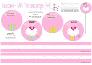 FREE thaumatrope paper toy for kids featuring pink and white cupcake with sprinkles, a tiny gold star and pink hearts; Bible verse from Psalm 119:103; free printable