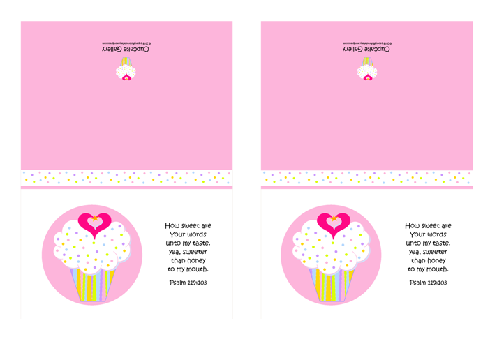 FREE pink and white note cards featuring cupcake with sprinkles, a tiny gold star and pink hearts; Bible verse from Psalm 119:103; free printable
