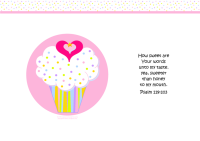 FREE Bible poster featuring pink and white cupcake with sprinkles, a tiny gold star and pink hearts; Bible verse from Psalm 119:103; free printable