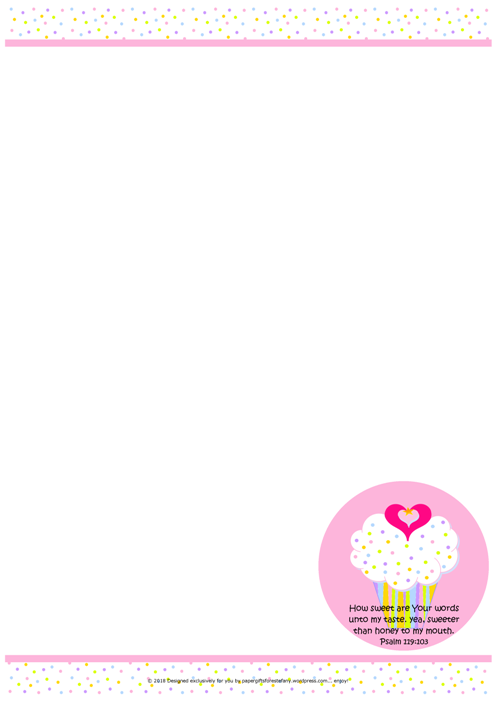 FREE stationery with delicious pink and white cupcake with sprinkles, a tiny gold star and pink hearts; Bible verse from Psalm 119:103; free printable
