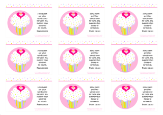 FREE Bible wallet cards with delicious pink and white cupcakes with sprinkles, a tiny gold star and pink hearts; Bible verse from Psalm 119:103; free printable