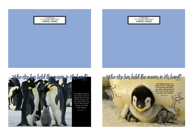 FREE Bible note cards featuring cute emperor penguin chicks; Bible verses from Zephaniah 3:17 and Isaiah 40:12; free printable