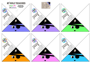 Bible Treasure Theme for kids; colourful pirate bookmark corners to cut out and fold over your page; free printable