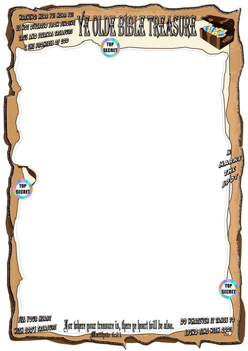 Bible Treasure Theme for kids; blank frame (portrait) for stationery or to jazz up your colouring pages and puzzles; free printable