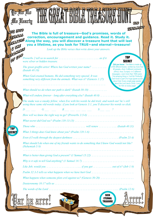 Bible Treasure Theme for kids; fill in the blank worksheet from Bible verses; free printable