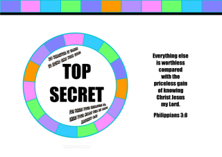 Bible Treasure Theme colourful poster for kids with Bible verses from Philippians 3:8 and Matthew 6:12; free printable