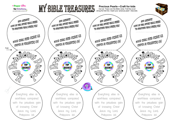 Bible Treasure Theme for kids; craft activity to colour and cut out; free printable