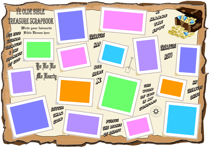 Bible Treasure Theme for kids; write out your favourite Bible verses on this scrapbook page; free printable