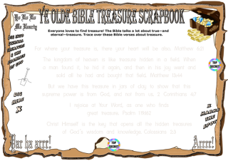 Bible Treasure Theme worksheet for kids; trace over these treasure related Bible verses; free printable