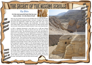 The Secret of the Missing Scrolls article; fun Bible adventure theme for kids about the Dead Sea Scrolls; free printable
