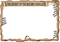 The Secret of the Missing Scrolls; fun Bible adventure theme for kids; blank stationery or page border; landscape; free printable