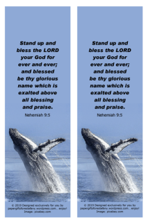FREE Bible bookmarks featuring a magnificent breaching whale on blue background and Bible verse from Nehemiah 9:5; free printable