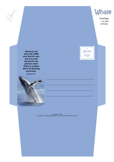 FREE Whale Envelope featuring a magnificent breaching whale on blue background and Bible verse from Nehemiah 9:5; free printable