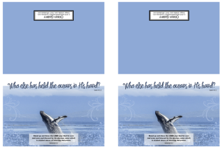 FREE Whale Note cards featuring a magnificent breaching whale on blue background and Bible verses from Nehemiah 9:5 and Isaiah 40:12; free printable