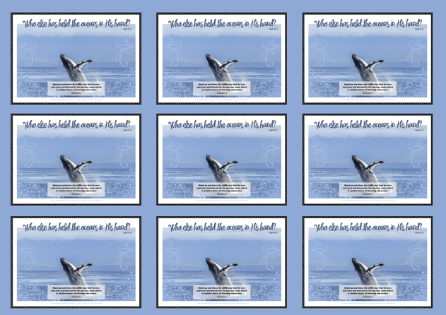 FREE Bible wallet cards featuring a magnificent breaching whale on blue background and Bible verses from Nehemiah 9:5 and Isaiah 40:12; free printable