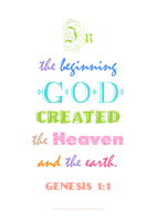 Typography word art poster with Bible verse from Genesis 1:1; coloured text on white background; free printable