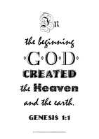 Typography black and white word art poster with Bible verse from Genesis 1:1; free printable