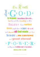Typography word art poster with Bible verse from Romans 1:20; coloured text on white background; free printable