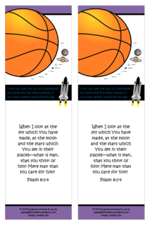 FREE Space / Universe bookmark for kids showing how big Earth and the planets are compared to the sun; with Bible verse from Psalm 8:3-4; giving glory to God as designer; free printable
